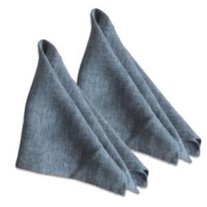 blaue Stoffserviette aus Bio Leinen (Doppelpack)